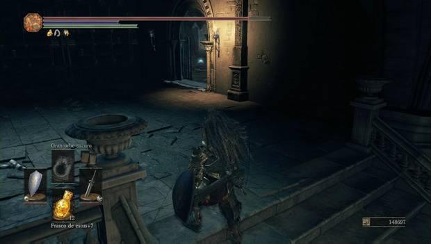 Dark Souls 3 - Gran Archivo: puerta por la que continuar desde la biblioteca de las manos fantasma