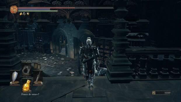 Dark Souls 3 - Gran Archivo: balconada en la biblioteca superior