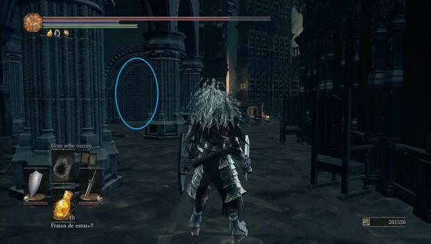 Dark Souls 3 - Gran Archivo: pared con un camino oculto en la planta superior
