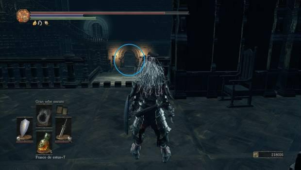 Dark Souls 3 - Gran Archivo: barandilla rota, puente y escaleras que llevan al atajo