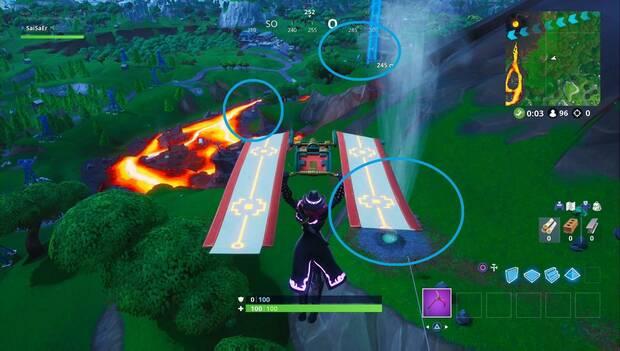 Fortnite Battle Royale - Monta en 3 respiraderos volcánicos distintos sin aterrizar