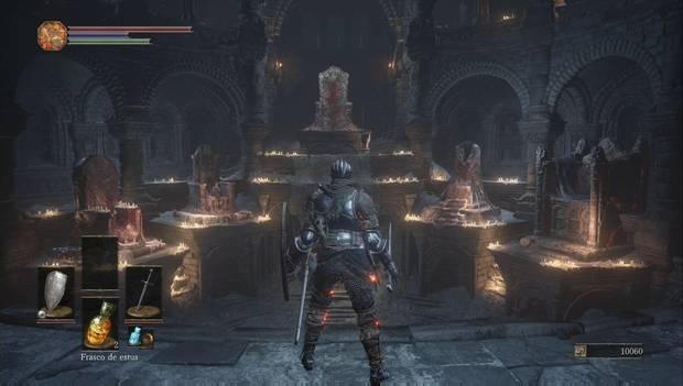 Dark Souls 3 - Cementerio de ceniza: sala principal del Santuario de Enlace del Fuego