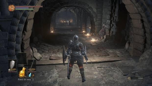 Dark Souls 3 - Cementerio de ceniza: André de Astora y la anciana vendedora en el Santuario de Enlace del Fuego