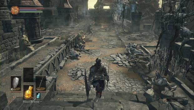 Dark Souls III - Gran Muro de Lothric: escaleras que bajan desde la muralla exterior