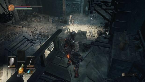 Dark Souls III - Gran Muro de Lothric: enemigos en la planta baja de la torre