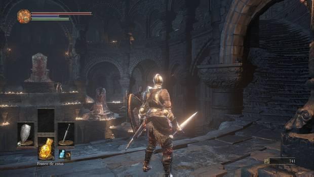 Dark Souls III - Gran Muro de Lothric: escaleras a la segunda planta del Santuario de Enlace del Fuego