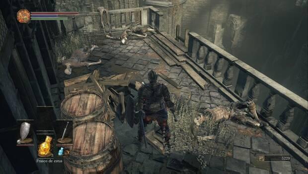 Dark Souls III - Gran Muro de Lothric: escalera de mano por la que bajar hacia la plaza