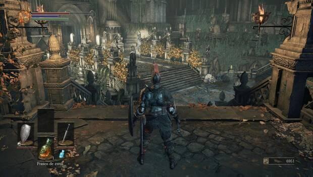 Dark Souls III - Gran Muro de Lothric: escalinata de los jardines del muro