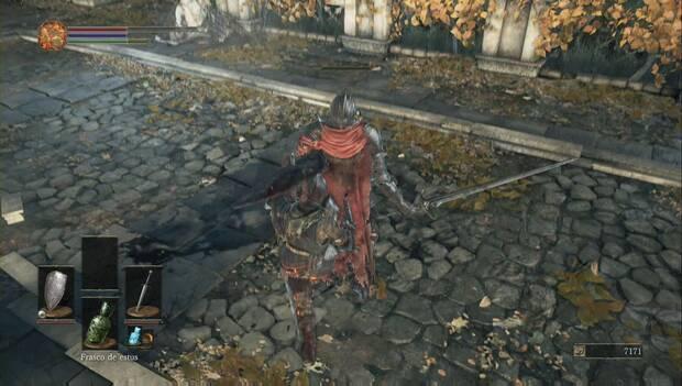 Dark Souls III - Gran Muro de Lothric: caballero de élite apuñalado por la espalda
