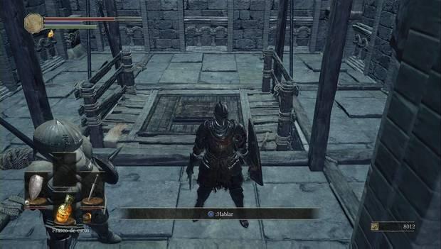 Dark Souls III - Asentamiento de no muertos: Siegward busca la manera de subir por la plataforma