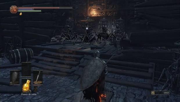Dark Souls III - Asentamiento de no muertos: Varias jaulas vivientes nos atacan