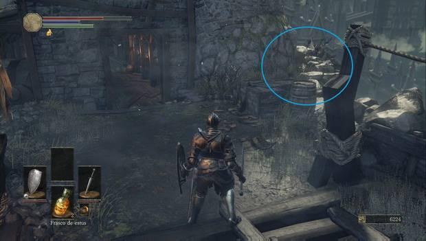 Dark Souls III - Asentamiento de no muertos: Camino alternativo al cruzar el puente desde la hoguera