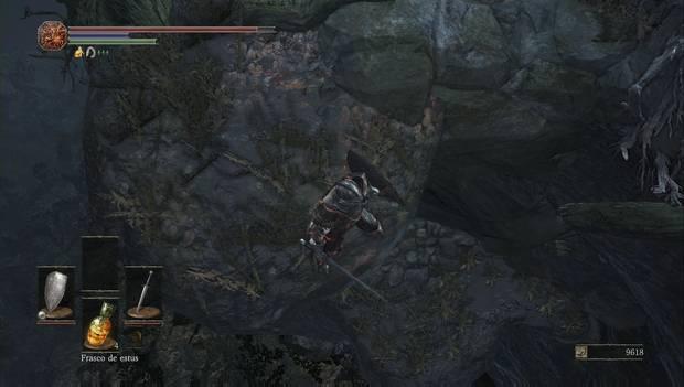 Dark Souls III - camino de los sacrificios: plataforma oculta en el acantilado de los cuervos