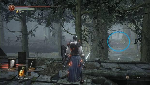 Dark Souls III - Camino de los Sacrificios: objeto brillante en el islote del centro del pantano