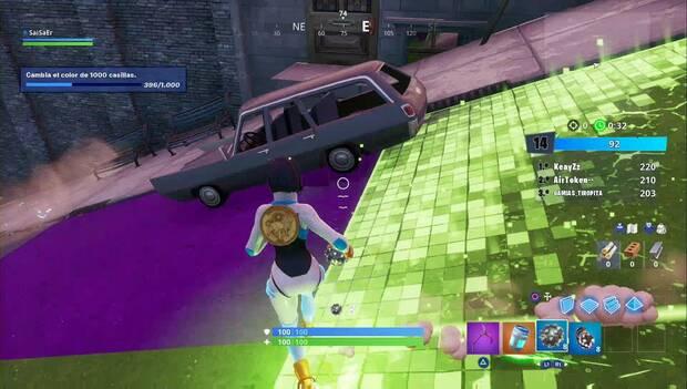 Fortnite Battle Royale - Entrega en el centro - casillas que cambian de color