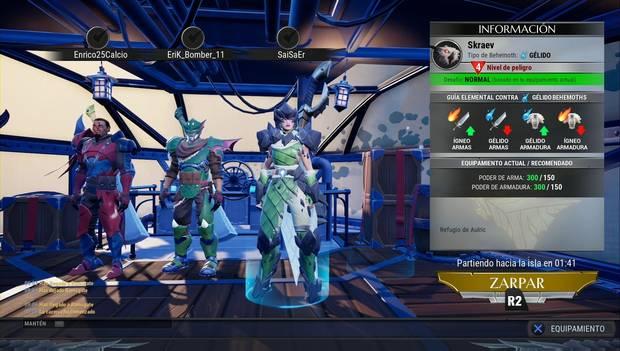 Dauntless - Armas: pantalla previa al combate
