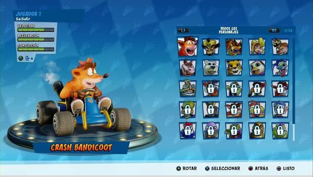 Crash Team Racing Nitro-Fueled: plantel de personajes