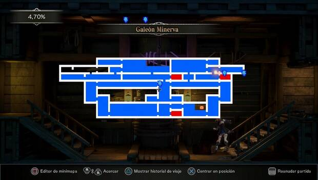 Bloodstained Ritual of the night: mapa del Galeón Minerva