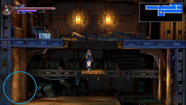 Bloodstained Ritual of the night - Galeón Minerva: pared rompible con mejora de PM