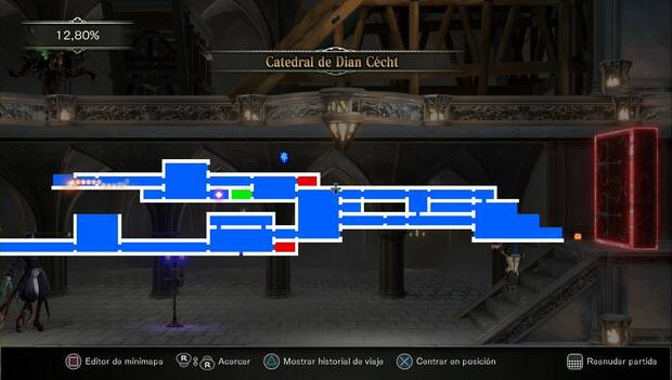 Bloodstained: Ritual of the night - Jardín del silencio: mapa de la zona explorada
