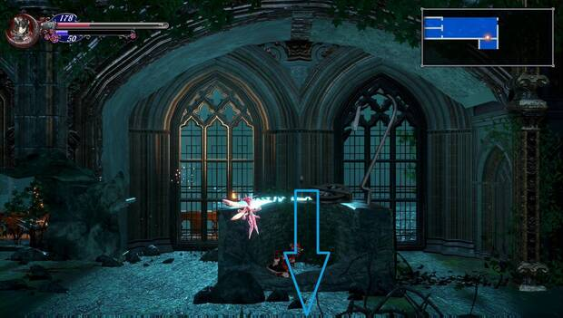 Bloodstained: Ritual of the night - Catedral de Dian Cécht: pozo desde el que saltar hacia abajo