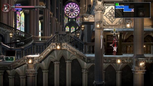 Bloodstained: Ritual of the night - Catedral de Dian Cécht: librería con la técnica Fuego rápido