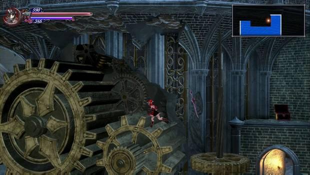 Bloodstained: Ritual of the night - Torre de los Dragones Gemelos: salta hacia estos engranajes