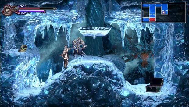 Bloodstained - Tumba Glacial: pared rota con el anillo ponderado