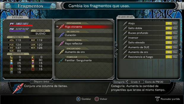 Bloodstained: Ritual of the night - Habilidades