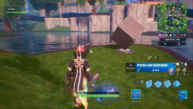 Fortnite - Monumento al cubo en balsa botín