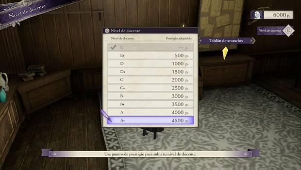 Fire Emblem Three Houses - Menú para comprar el nivel de docente