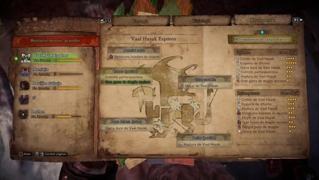 Monster Hunter World Iceborne - Vaal Hazak Espóreo: objetos que deja caer y recompensas
