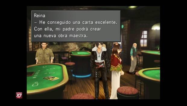Final Fantasy VIII Remastered - Reina de las cartas hablando de una gran carta