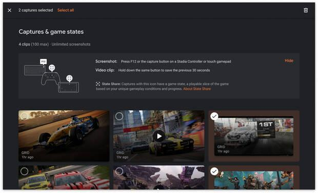 Stadia delete screenshots