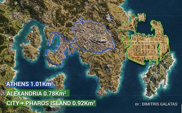 El mapa de Assassin's Creed Odyssey es casi 3 veces mas grande que en Origins Imagen 5