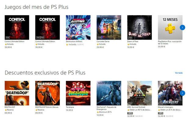 PS Plus dentro de PS Store