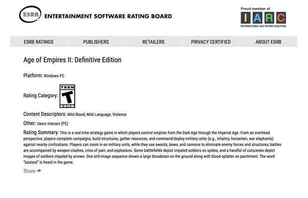 Age of Empires 2 Definitive Edition aparece clasificado por ESRB para PC Imagen 2
