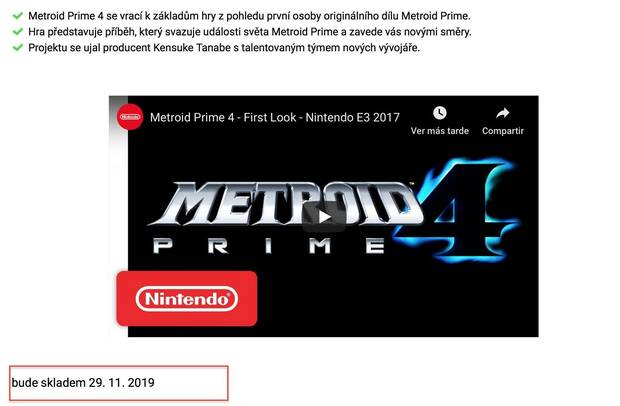 Una tienda fecha a Metroid Prime 4 para el 29 de noviembre Imagen 2
