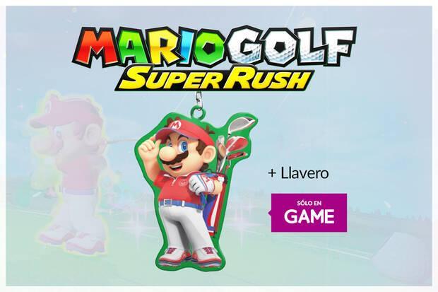 Llavero exclusivo con la reserva de Mario Golf Super Rush en GAME.