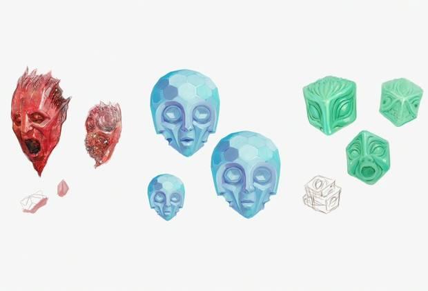 Devil May Cry 5: diseño de gemas rojas, azules y verdes