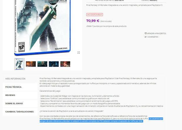 Final Fantasy 7 Remake Intergrade Episode Intermission precio 20