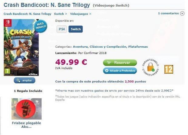 Una tienda española filtra Crash Bandicoot N. Sane Trilogy para Switch Imagen 2