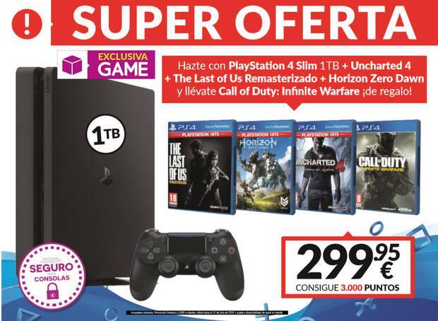 GAME anuncia un nuevo pack de PS4 Slim 1TB más 4 juegos por 299,95 euros Imagen 2