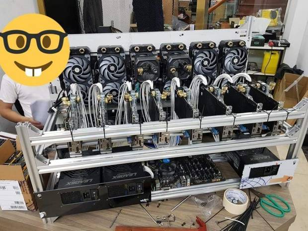 Mina with 10 RTX 3090 with coolers