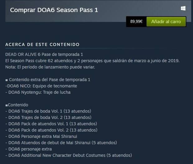 El Pase de temporada de Dead or Alive 6 cuesta 90 euros Imagen 2