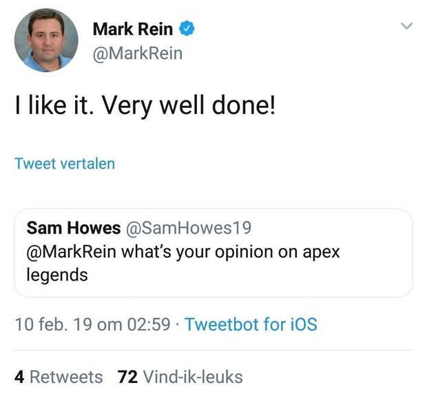 Mark Rein de Epic felicita al equipo de Apex Legends y borra el mensaje Imagen 2