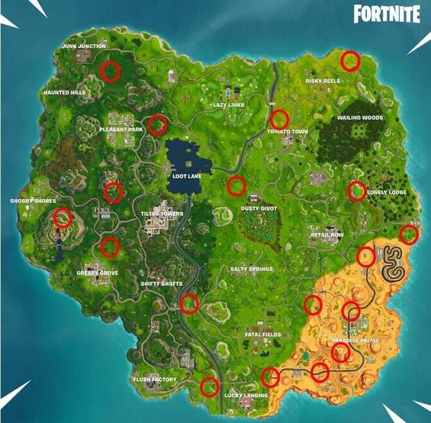 Fortnite - Localización de las grietas del Desafío de la semana 8