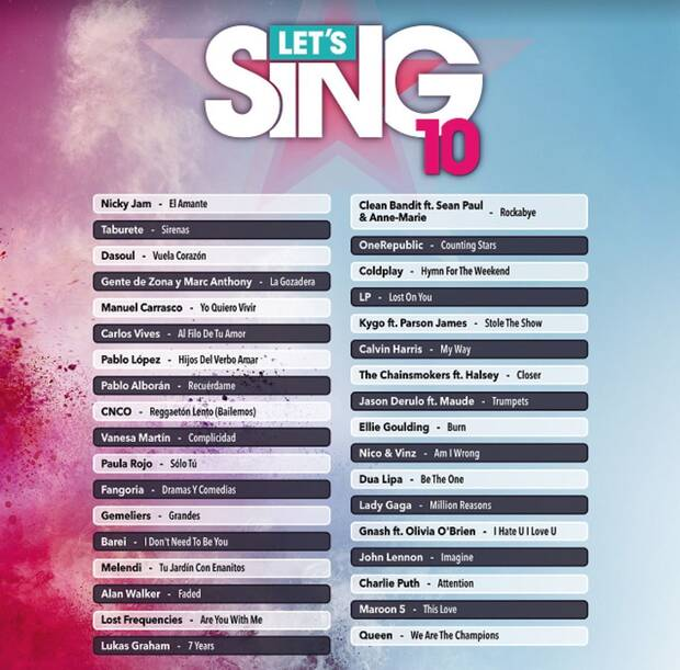 Let's Sing 10 se pone hoy a la venta en PS4 y Wii Imagen 2