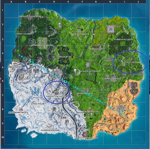 Fortnite Battle Royale - Semana 8, T7: registra cofres en túneles tortuosos o en soto solitario