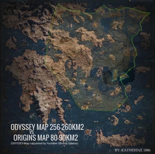 El mapa de Assassin's Creed Odyssey es casi 3 veces mas grande que en Origins Imagen 3